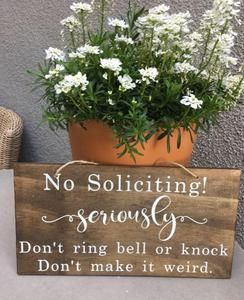 No Soliciting Hanging Wood Sign