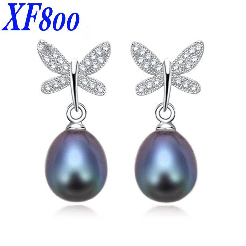 New Arrival Cultured Pearl Earrings 100 Genuine Jewelry Natural Erfly