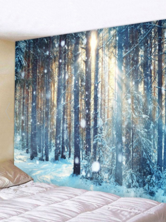 Sunlight Snow Forest Print Tapestry Wall Hanging Art Decoration#art #decoration #forest #hanging #print #snow #sunlight #tapestry #wall