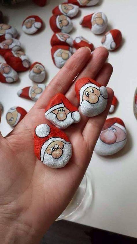 Weihnachtsmänner stein #bemaltekieselsteine