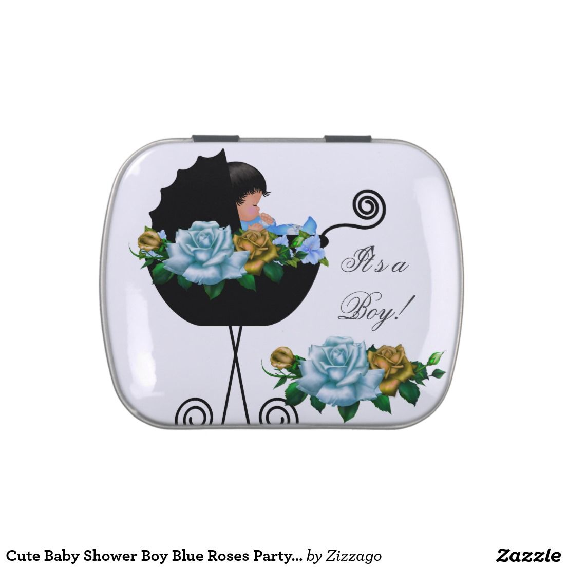 Cute Baby Shower Boy Blue Roses Party Favor Jelly Belly Tins