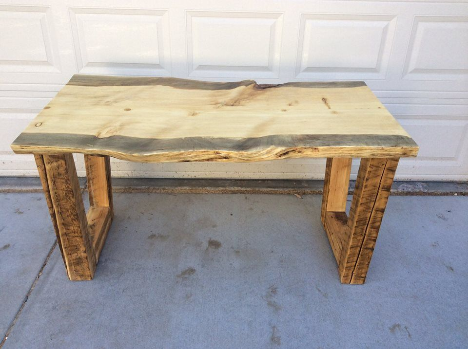 Colorado Beetle Kill Pine 55 X30 Desk Table With Live Edge And Reclaimed Farm House Beam Base Made By Beyond Tables Llc