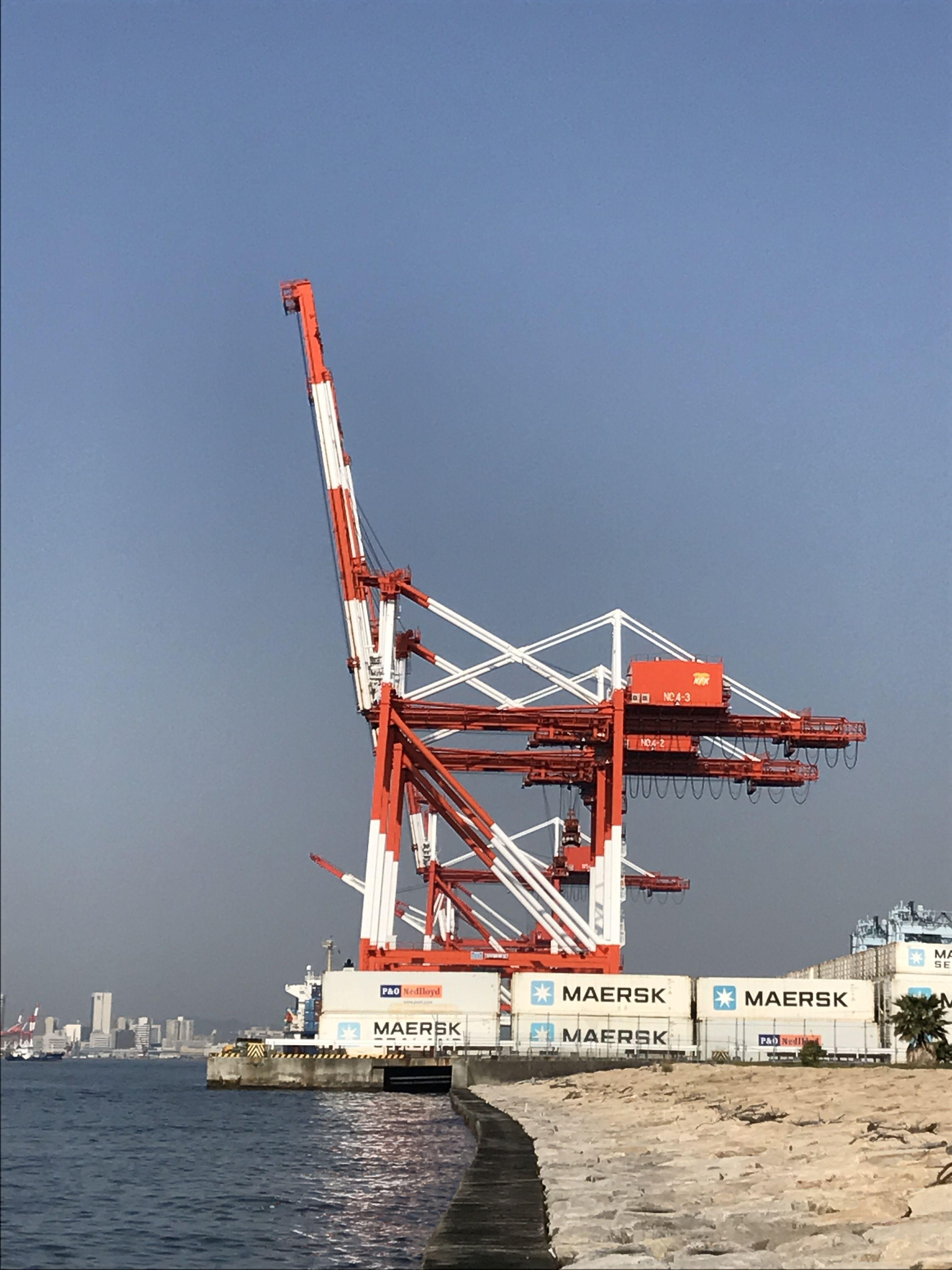 神戸 ガントリークレーン 六甲アイランド マリンパーク Gantry Crane Gantry Crane Of Marine Park Of Kobe Rokko Island Here Is A Place Where You Can See The Giraffe In Its P 神戸 神戸港 アイランド