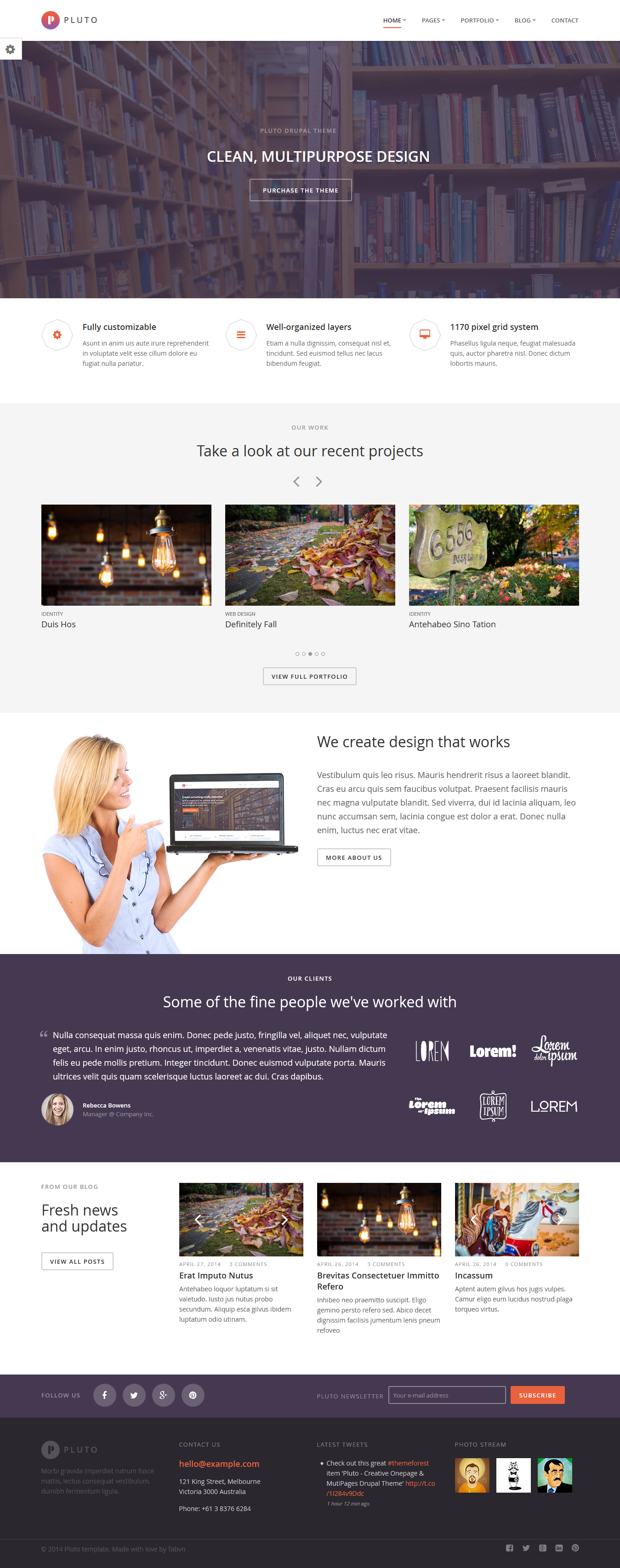 Pluto Is The Awesome Responsive Drupal Theme Onepage Mutipages Created For Corporate And Portfolio Websites Busines Drupal Theme Corporate Business