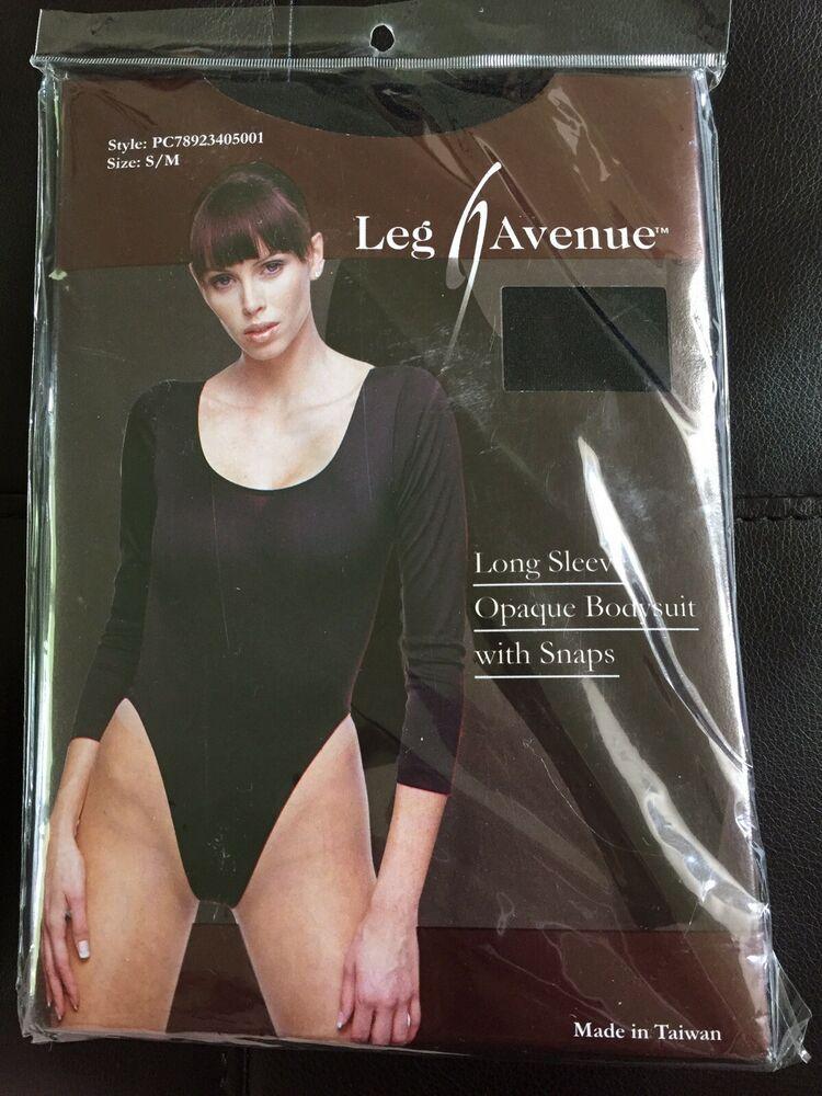 a6a5621d8f81 NEW Leg Avenue Long Sleeve Opaque Bodysuit with Snaps S/M Black #LegAvenue