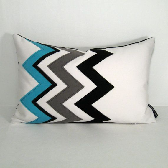 Turquoise Blue Chevron Pillow Cover Decorative Outdoor Pillow Cover