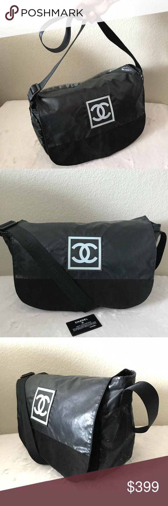 74a8a0a6a179 Chanel CC Sport Line Black Nylon Messenger Bag Authentic Chanel Sport Line  Black Rubberized Nylon Messenger