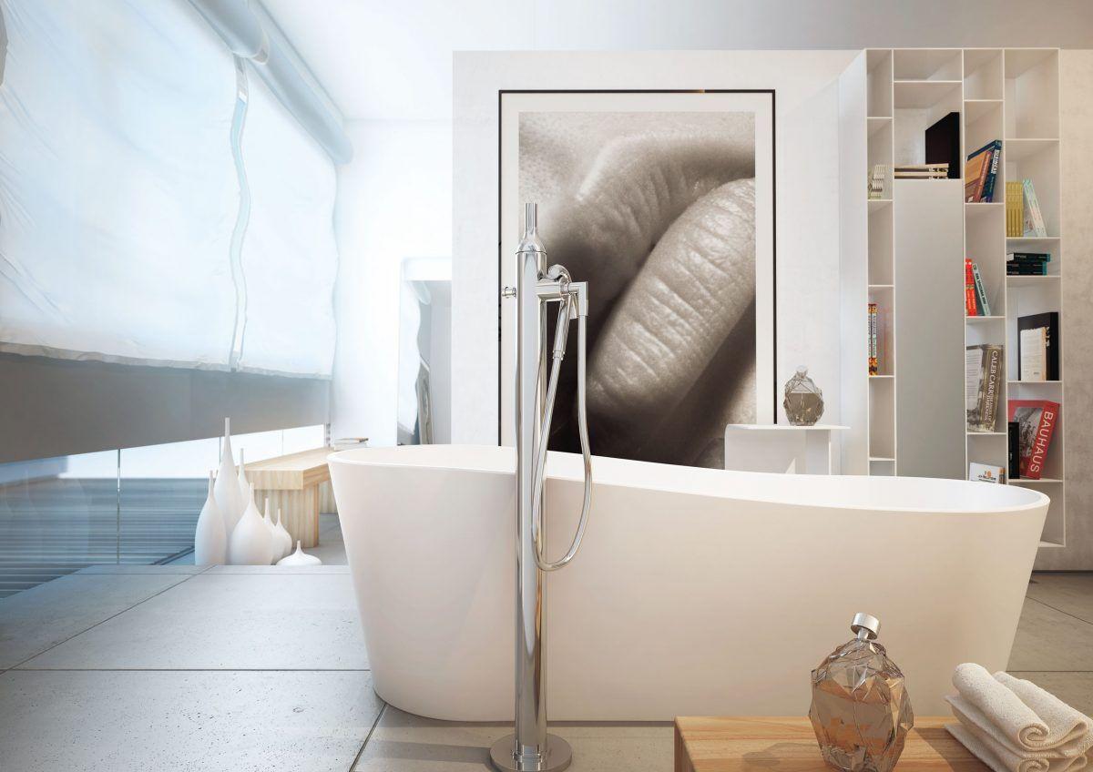 Badgetsaltung Ideen Mit Keramik Badewanne Und Moderner Malerei An Der Wand