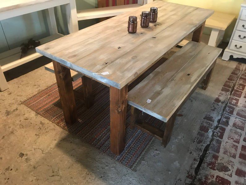 Rustic Narrow Farmhouse Table Set with Benches, White Wash