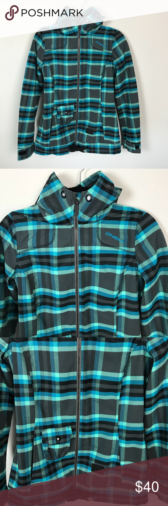 O Neill Plaid Relaxed Fit Zip Up Jacket Clothes Design Relaxed Fit Fashion