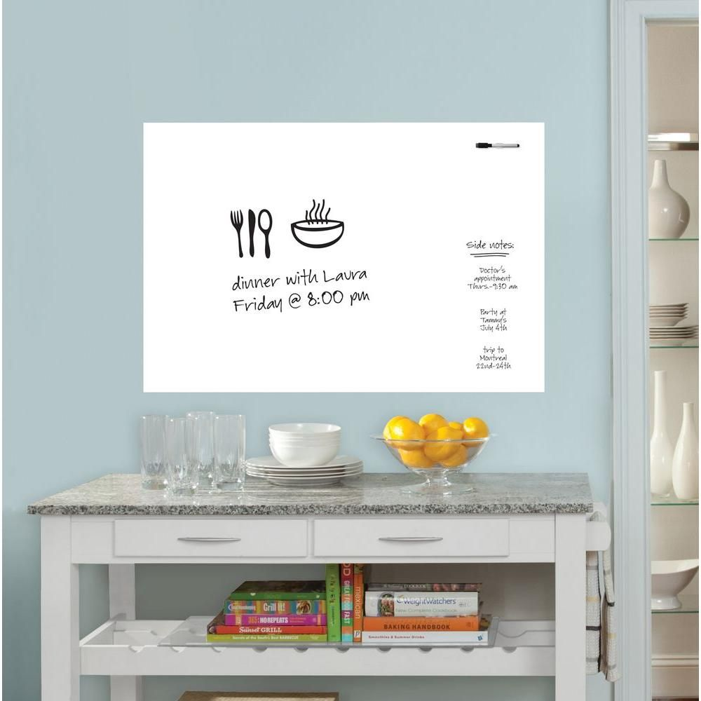 Wall Pops 36 In X 24 In Dry Erase Whiteboard Wall Decal Wpe0446