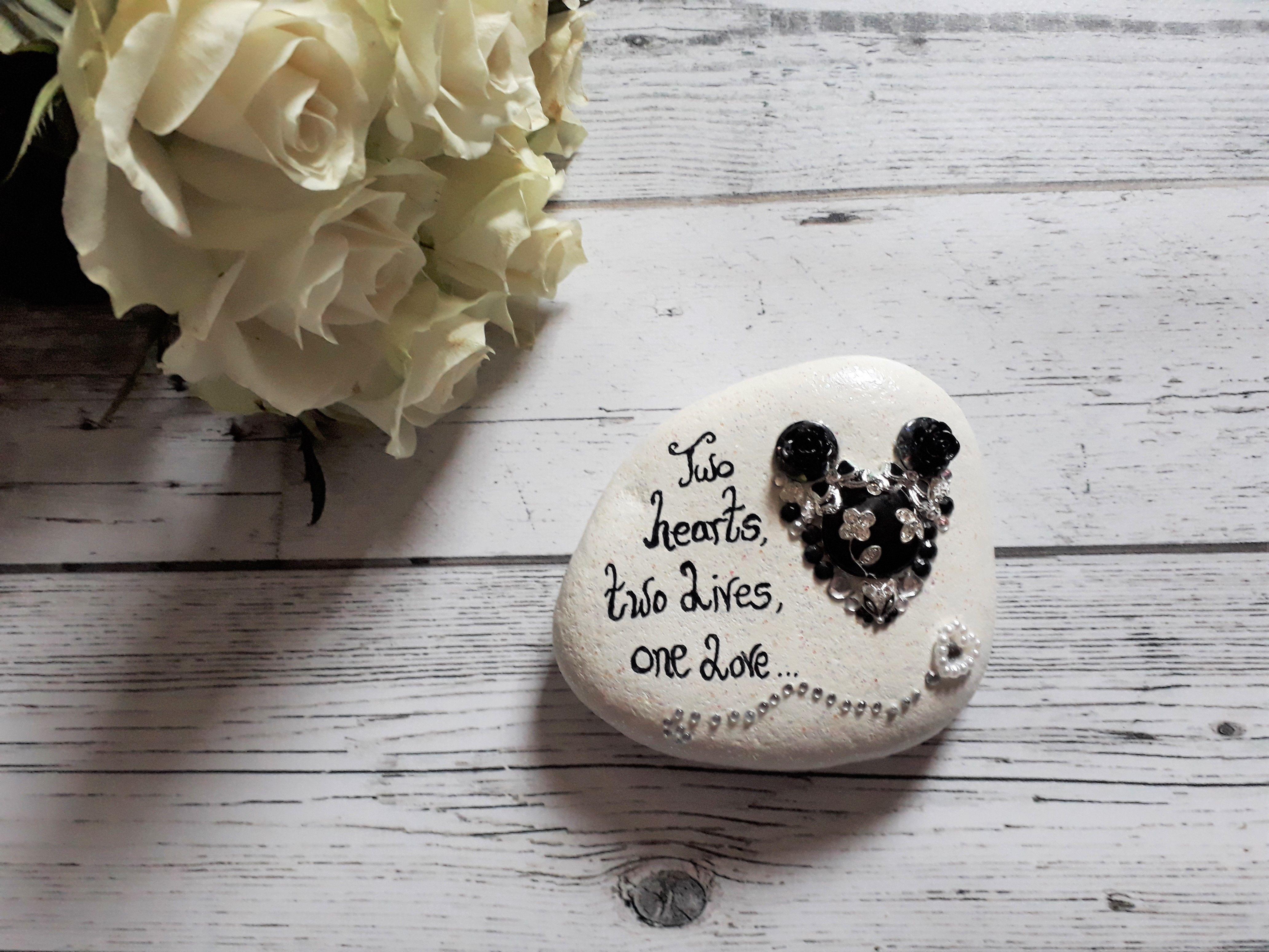 Wedding decorative keepsake pebble. Wedding gift ideas. Black ...