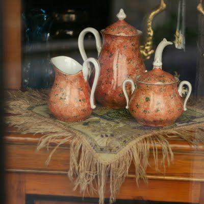 what a gorgeous copper tea set