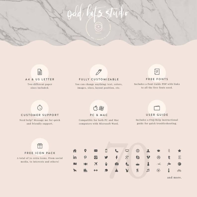 Modern Resume Template Cover Letter Icon Set For Microsoft Word 4 Page Pack Professional Cv Instant Download The Scandi In 2020 Letter Icon Modern Resume Template Resume Template