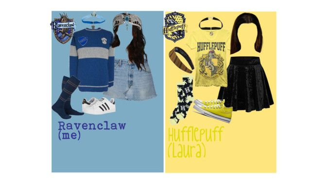 """""""the ravenpuffs"""" by child-of-the-universe ❤ liked on Polyvore featuring Warner Bros. and adidas"""