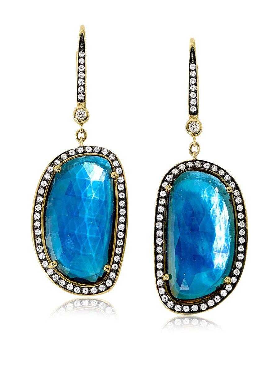 Jenny perl london blue topaz u diamond earrings glitz u ritz