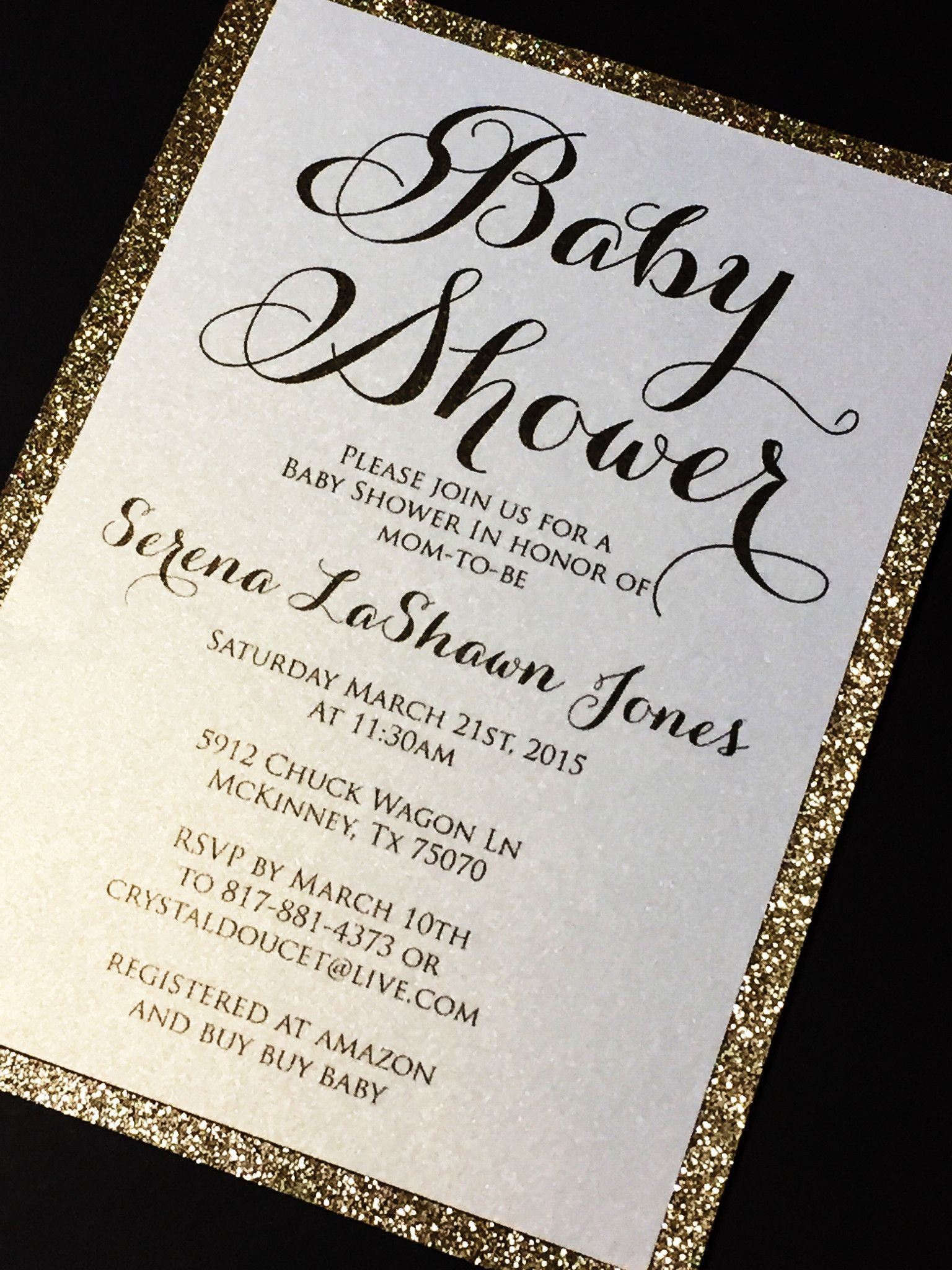 Glitter Baby Shower Invitations, Elegant Baby Shower Invite SERENA ...