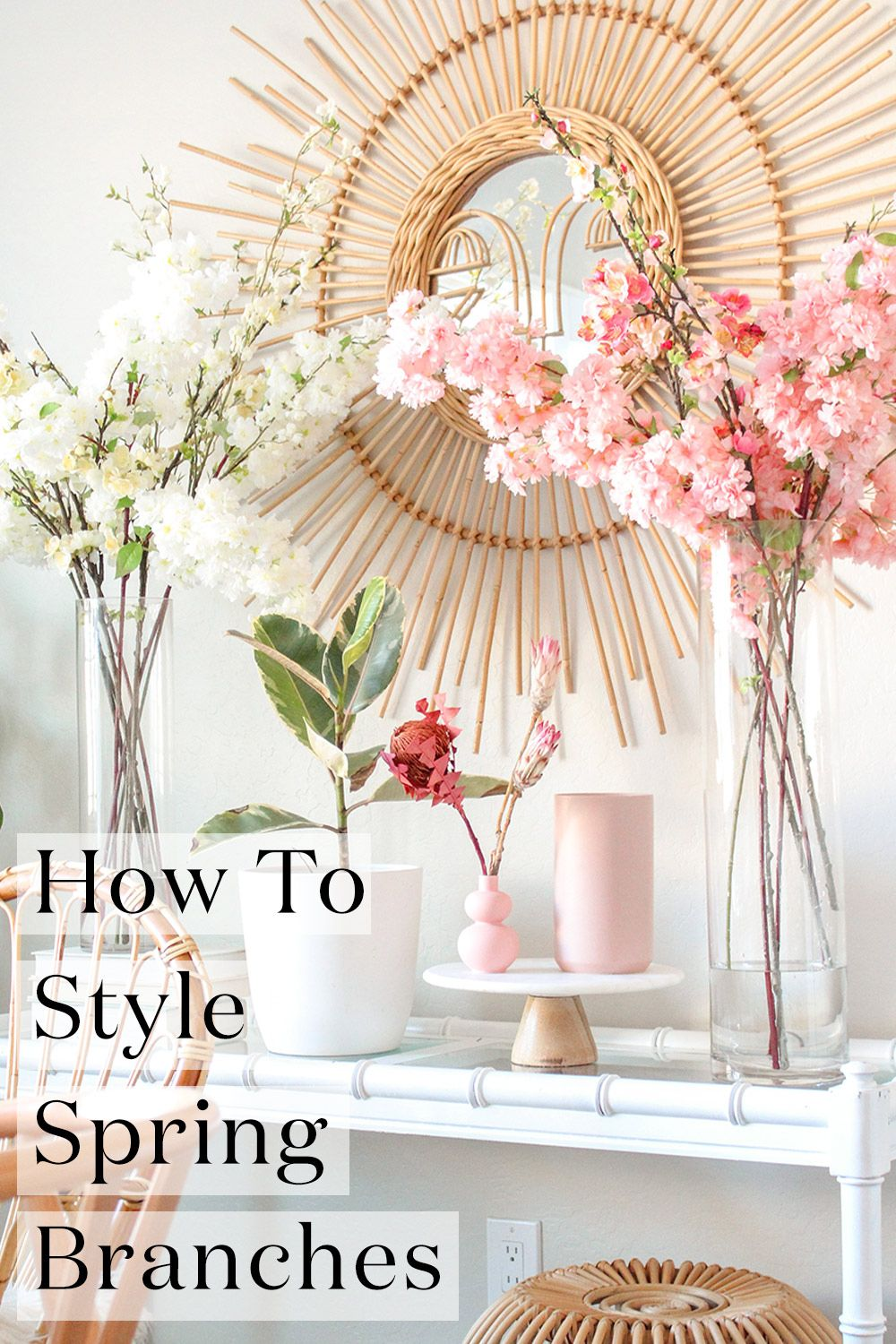 How To Style Artificial Cherry Blossoms And Faux Branches Faux Branches Spring Branch Simple Side Tables