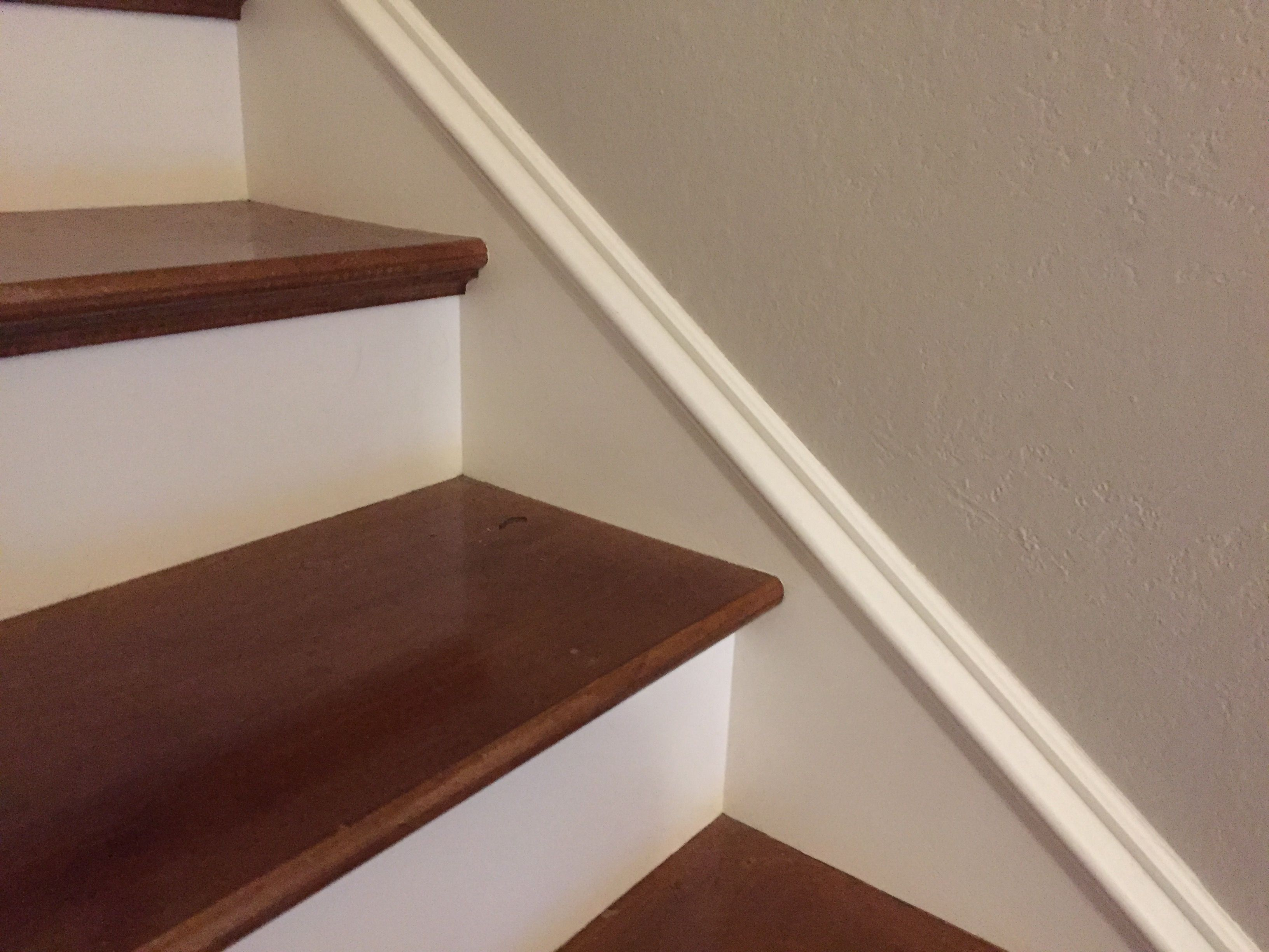 White Stair Faces, Lip With Wood Trim Under