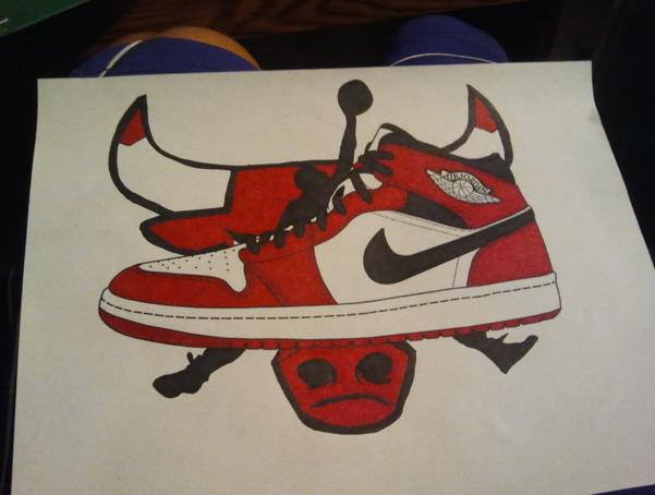 how to draw a jordan shoe