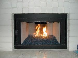 How To Convert Gas Fireplace With Glass Stones Contemporary Fireplace Designs Fireplace Makeover Fireplace