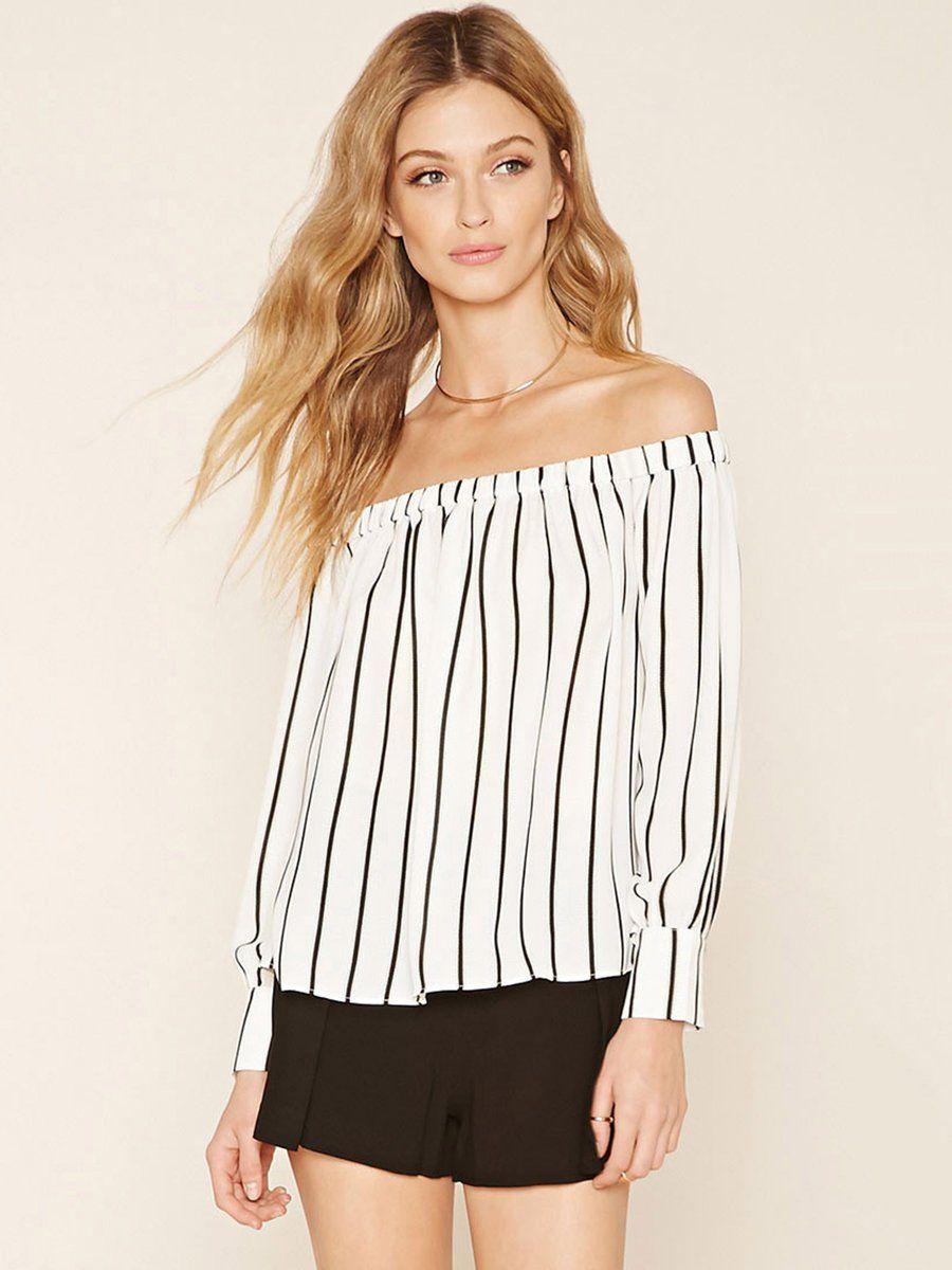 #AdoreWe #JustFashionNow Cold Shoulder (Off Shoulder) Tops - Designer VVIC White Stripes Casual Off Shoulder Top - AdoreWe.com