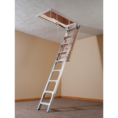 AE2210 22.5 in W x 54 in L x 8 ft to 10 ft H Ceiling Energy Seal Aluminum Attic Ladder