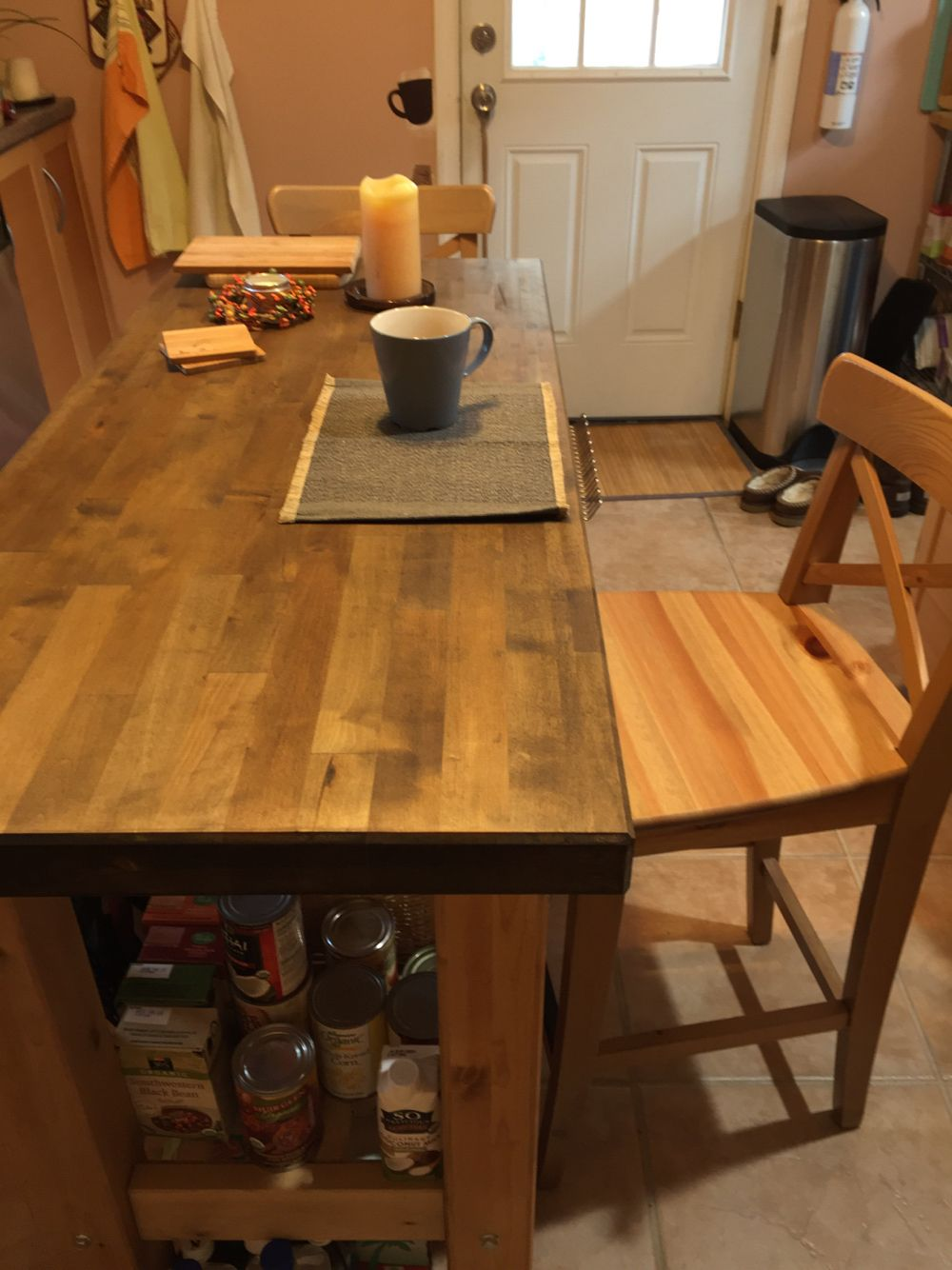 IKEA Groland kitchen island makeover. I treated the top with ...