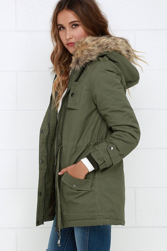 d1db3c14415ec Luck of the Draw Faux Fur Olive Green Parka Jacket at Lulus.com!