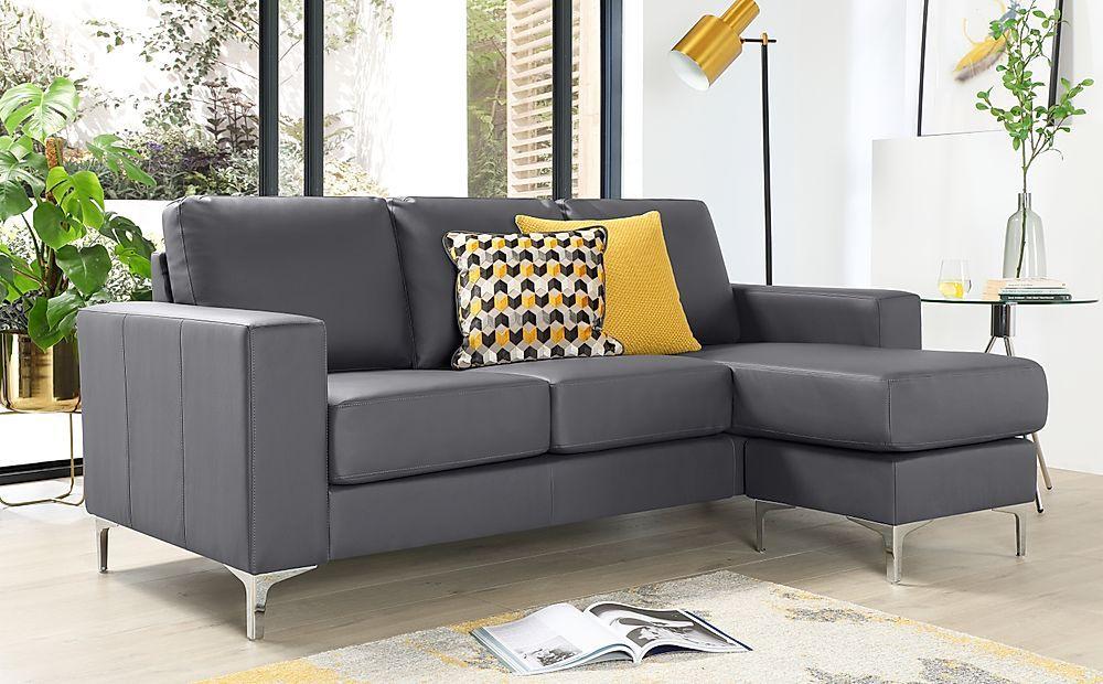 Baltimore Grey Leather L Shape Corner Sofa Furniture