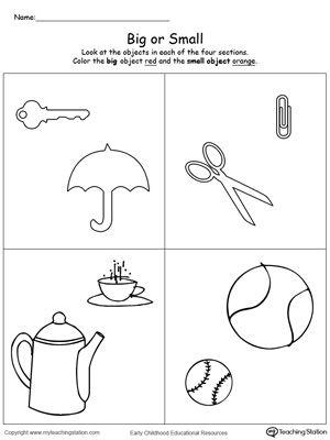 Big and small worksheet | Kindergarten activity | Pinterest ...