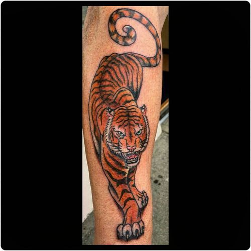 Beautiful Tiger Tattoo Design On Thigh: 50 Traditional Design Ideas (2019