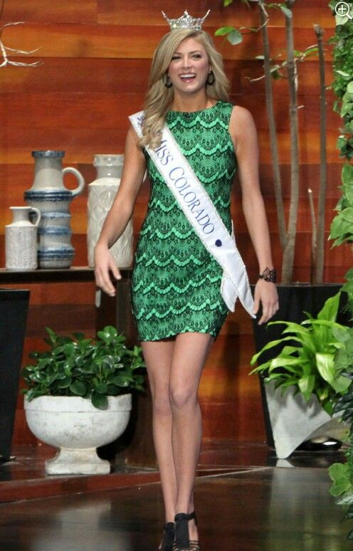 Miss Colorado beaming and gorgeous in our green lace overlay dress for her appearance on Ellen! #theellenshow #misscolorado #missamerica #kelleyjohnson