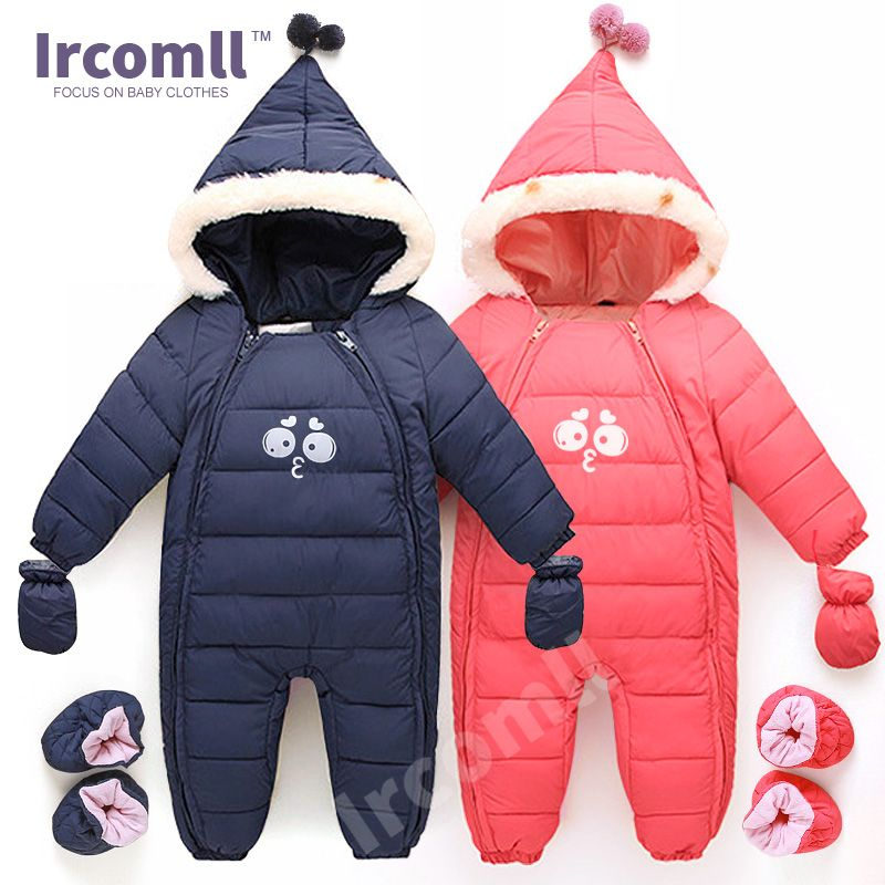 1925df958686 Down Cotton Baby Rompers Winter Thick Boys Costume Girls Warm Infant ...