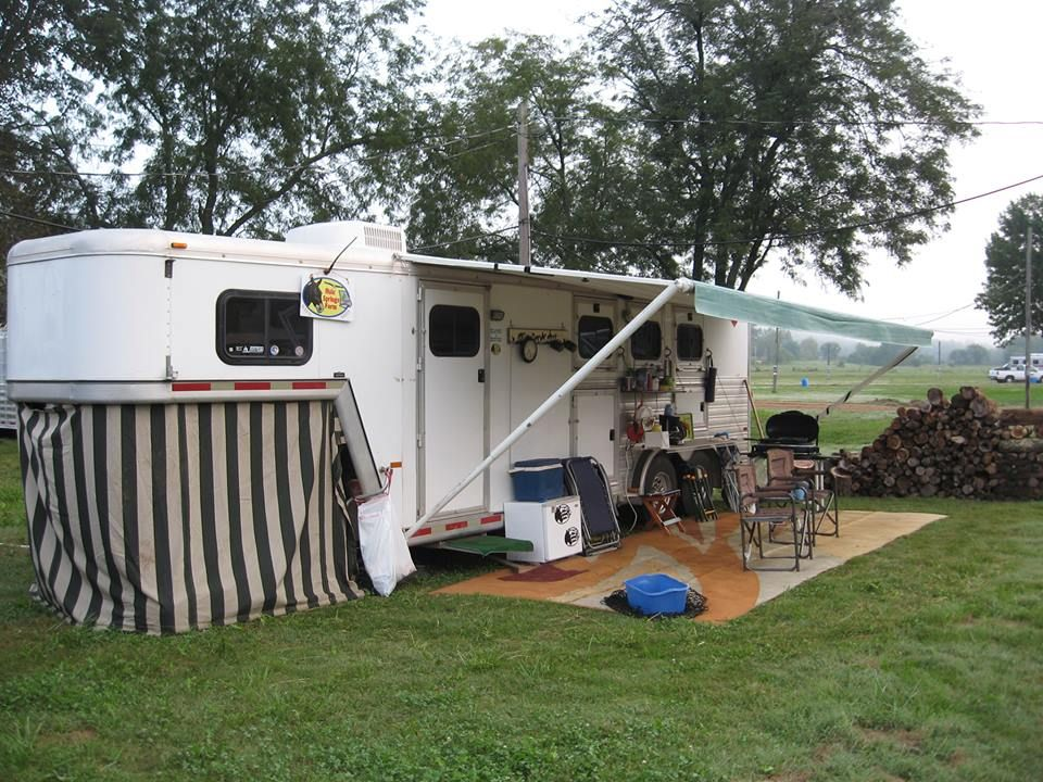 From Karen Clark My Husband Attached Hooks Under The Gooseneck I Sewed A Curtain Out Of Horse Trailer Living Quarters Horse Trailer Organization Horse Camp