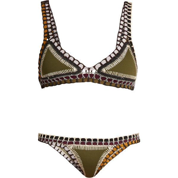 8e598e1bf5 Kiini Wren crochet-trimmed triangle bikini ($270) ❤ liked on Polyvore  featuring swimwear, bikinis, khaki, bikini two piece, triangle bikini  swimwear, ...