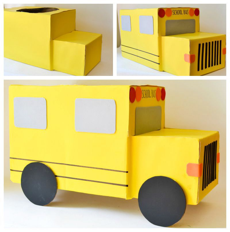 Cardboard Box School Bus #parenting