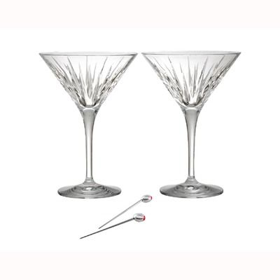 Reed & Barton Crystal Soho Martini Glass (Set of 2) with Olive Picks