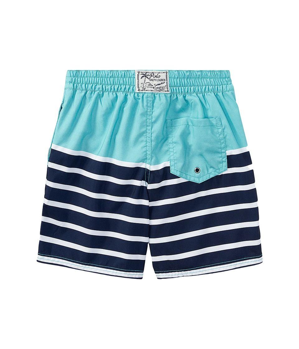 4baafe80d01ee Polo Ralph Lauren Kids Sanibel Striped Swim Trunks (Toddler) Boy's Swimwear  Deep Seafoam Multi