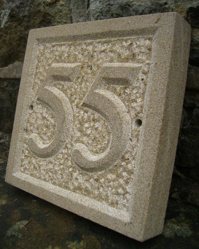 Relief Engraved Sandstone House Sign