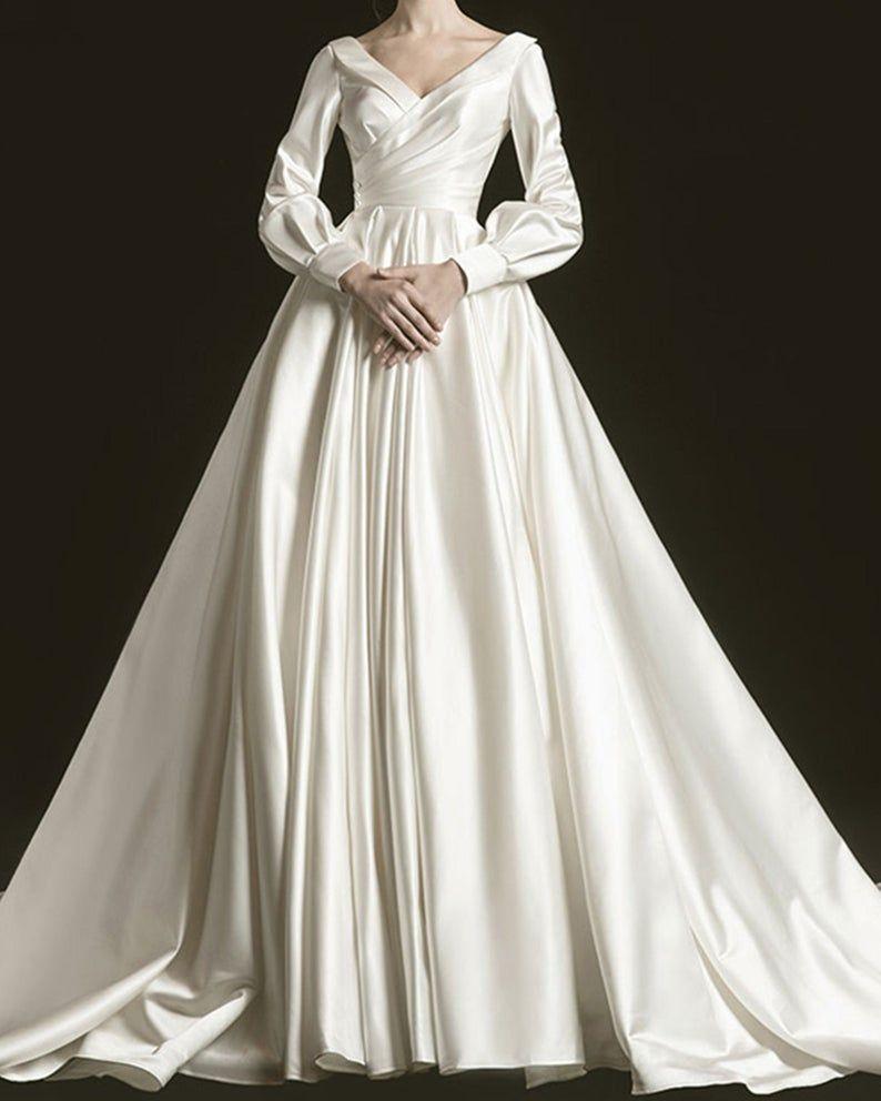Vintage Bridal Wedding Dress Minimalist Satin Wedding Dress Etsy In 2021 White Ball Gowns Wedding Dress Long Sleeve Pearl Wedding Dress [ 992 x 794 Pixel ]