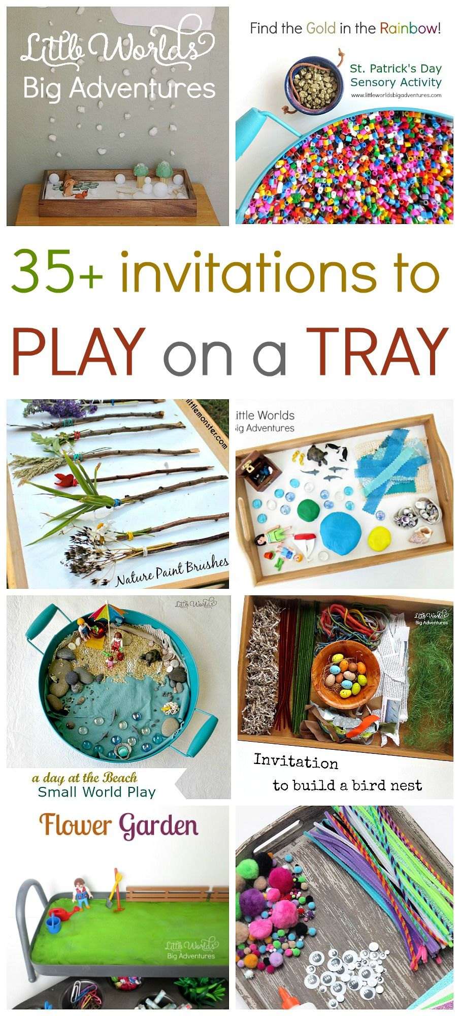 35 Ideas to Play on a Tray, Invitations to Play, Create and Explore! | Little Worlds Big Adventures #play #kidsactivities #preschool #toddler #sensoryplay #smallworldplay #creativity #imagination #invitationtoplay
