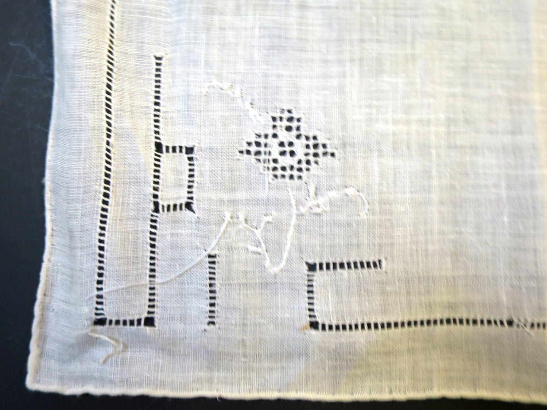 Vintage White Linen Handkerchief Openwork Filet Irish Antique Hanky Wedding Bridal Gotted