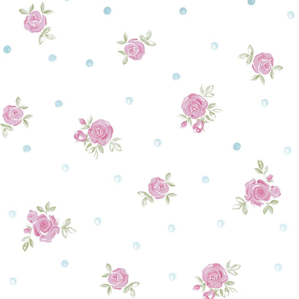 Designer Selection Princess Flower Wallpaper White / Pink ...