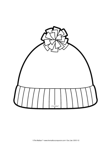 Short Stocking Hat Coloring Page Winter Hat Craft Coloring