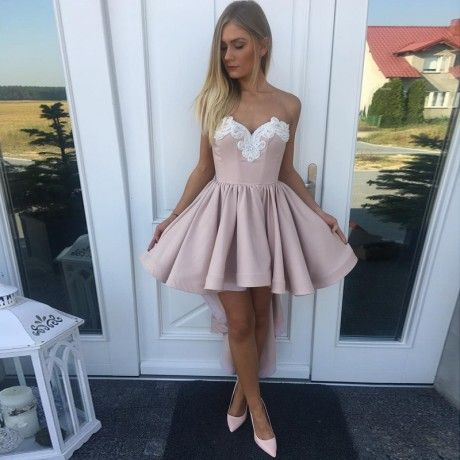 d44e801817044 A-Line Sweetheart High Low Blush Appliques Homecoming Dress in 2018 ...