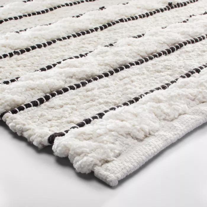 Striped Bath Rug White Black Opalhouse In 2020 White Bathroom