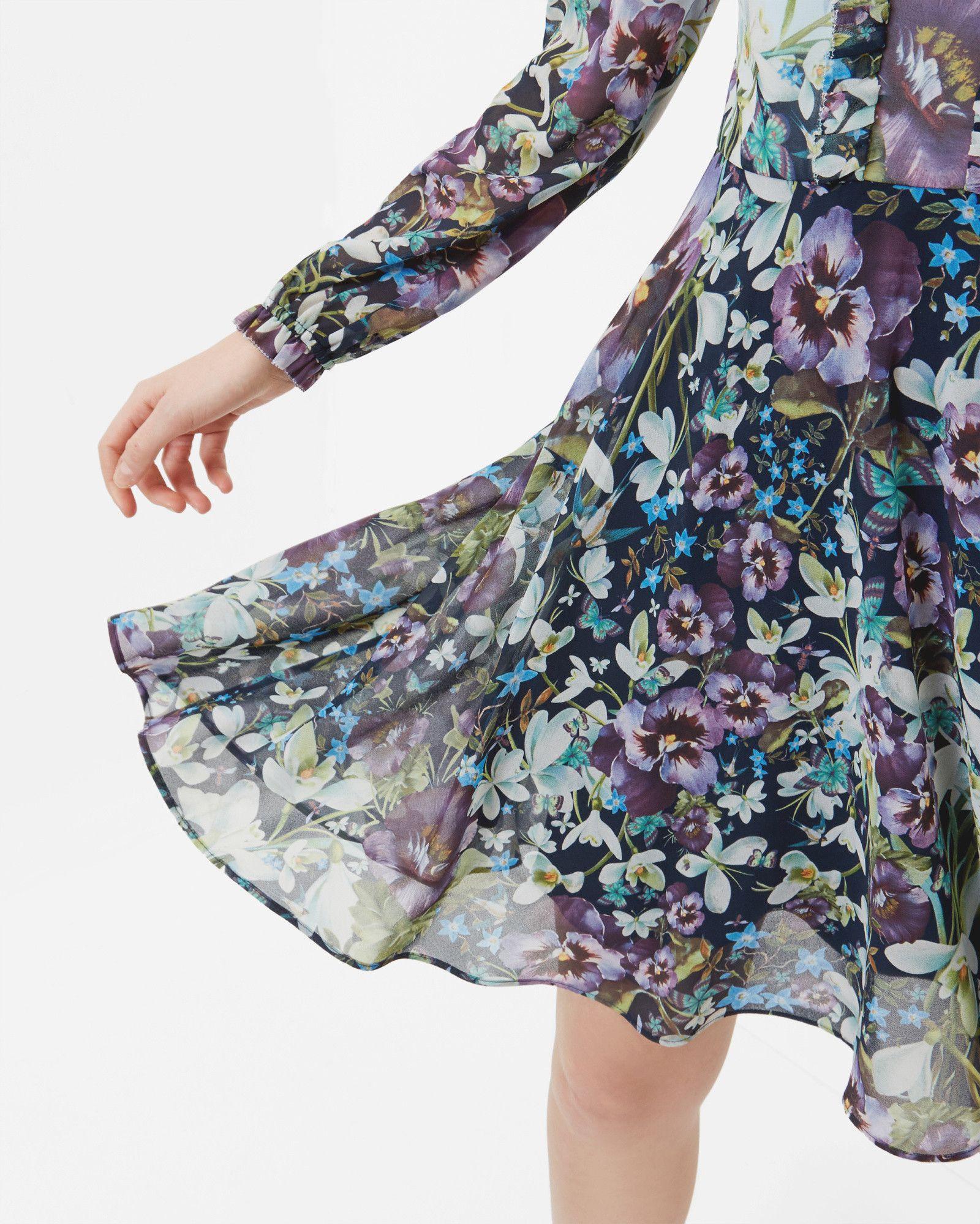 Entangled enchantment long sleeved dress dark blue dresses ted baker
