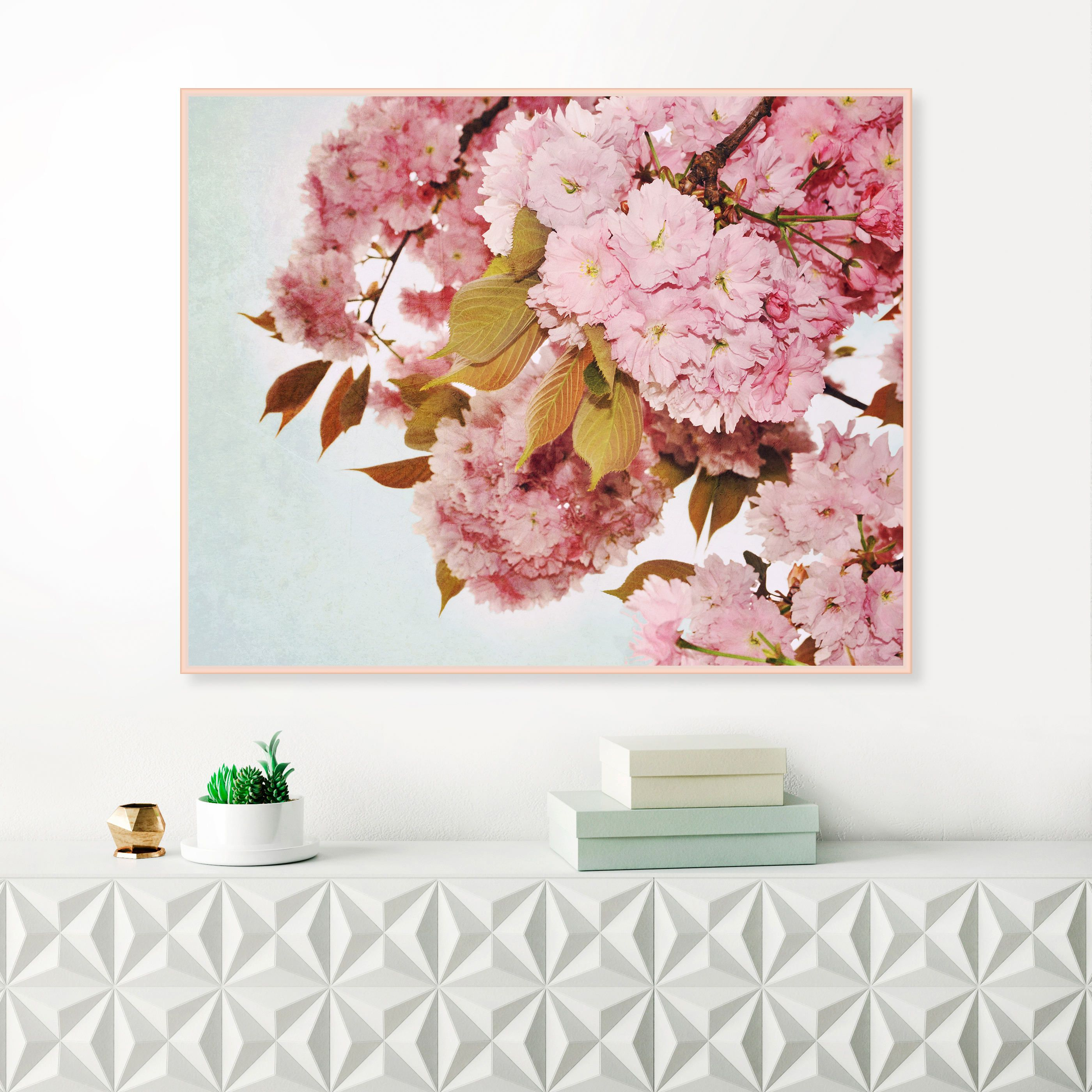 Cherry blossom print pale pink and blue flower prints floral art