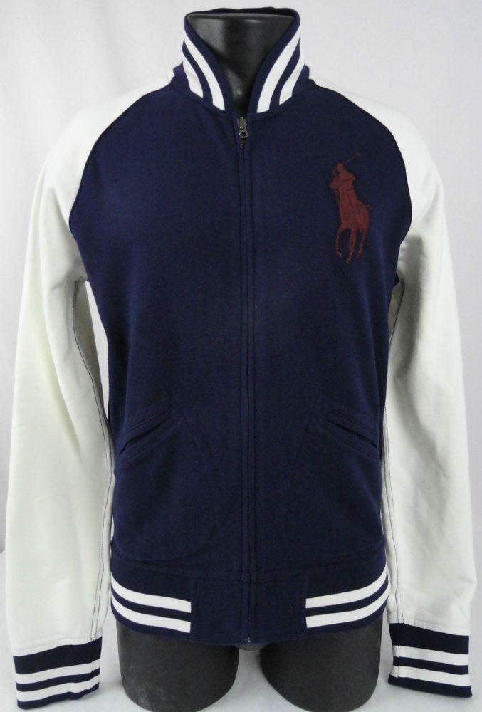 NWT Polo Ralph Lauren Mens M Big Pony Varsity Jacket Cruise Navy & Ivory  Zipped #